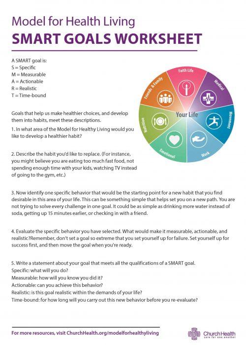 Modelo para la hoja de trabajo de metas SMART de vida saludable
