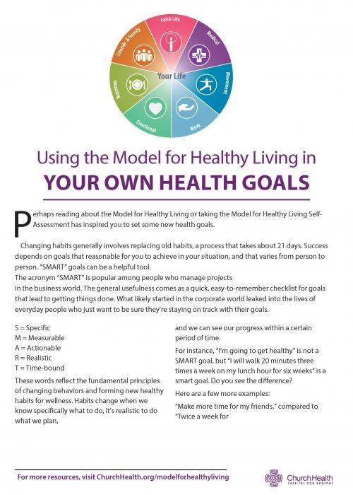 Uso del modelo para una vida saludable en sus propios objetivos de salud - Folleto